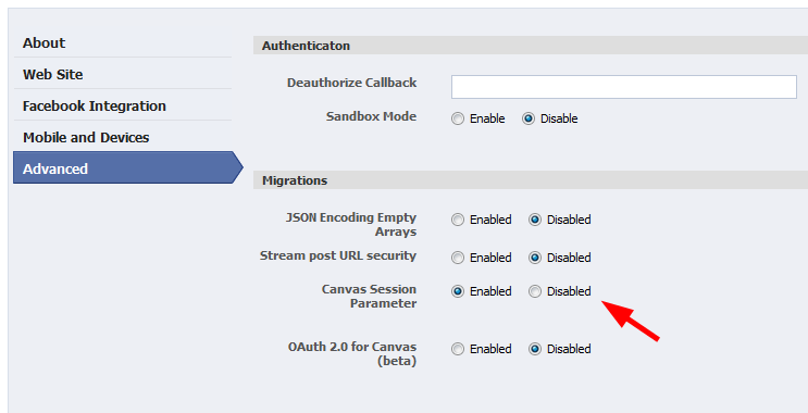 Facebook Canvas session Parameter checkbox